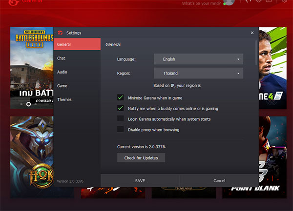 Open Garena application at the desktop