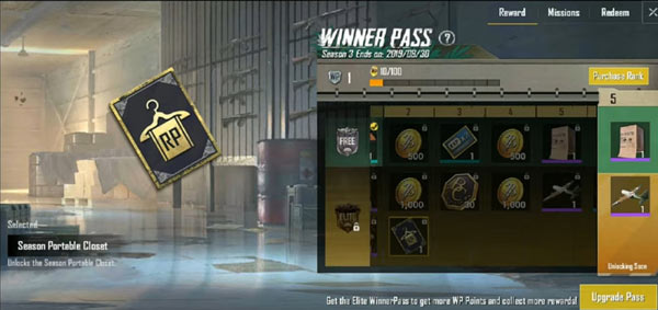 PUBG Mobile Lite Winner Pass - Rename Card and Portable Closet