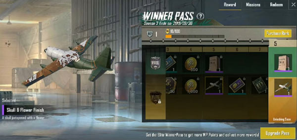 PUBG Mobile Lite Winner Pass - Skull Flower Airplane Finish