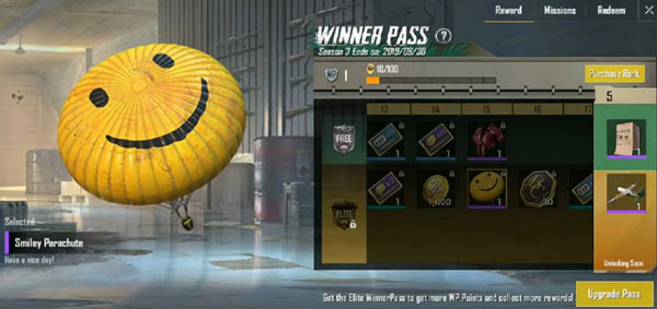 PUBG Mobile Lite Winner Pass - Smiley Parachute
