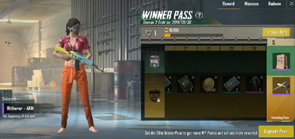 PUBG Mobile Lite Winner Pass - Witherer AKM Skin