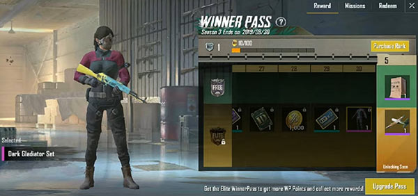 PUBG Mobile Lite Winner Pass - Dark Gladiator Set